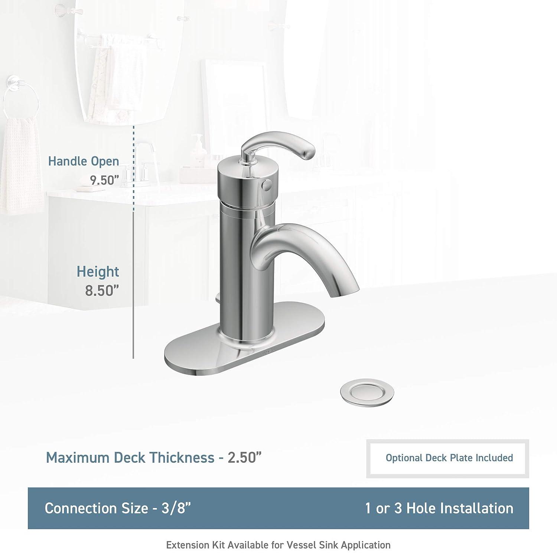 Brushed Nickel Moen S6500BN Icon Collection Single-Handle Bathroom Vessel Sink Faucet Option