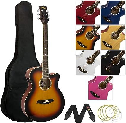Tiger - Guitarra electroacústica, color amarillo: Amazon.es ...