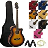 Tiger Full Size Electro Acoustic Guitar Package for Beginners with Built In Tuner and EQ - Sunburst