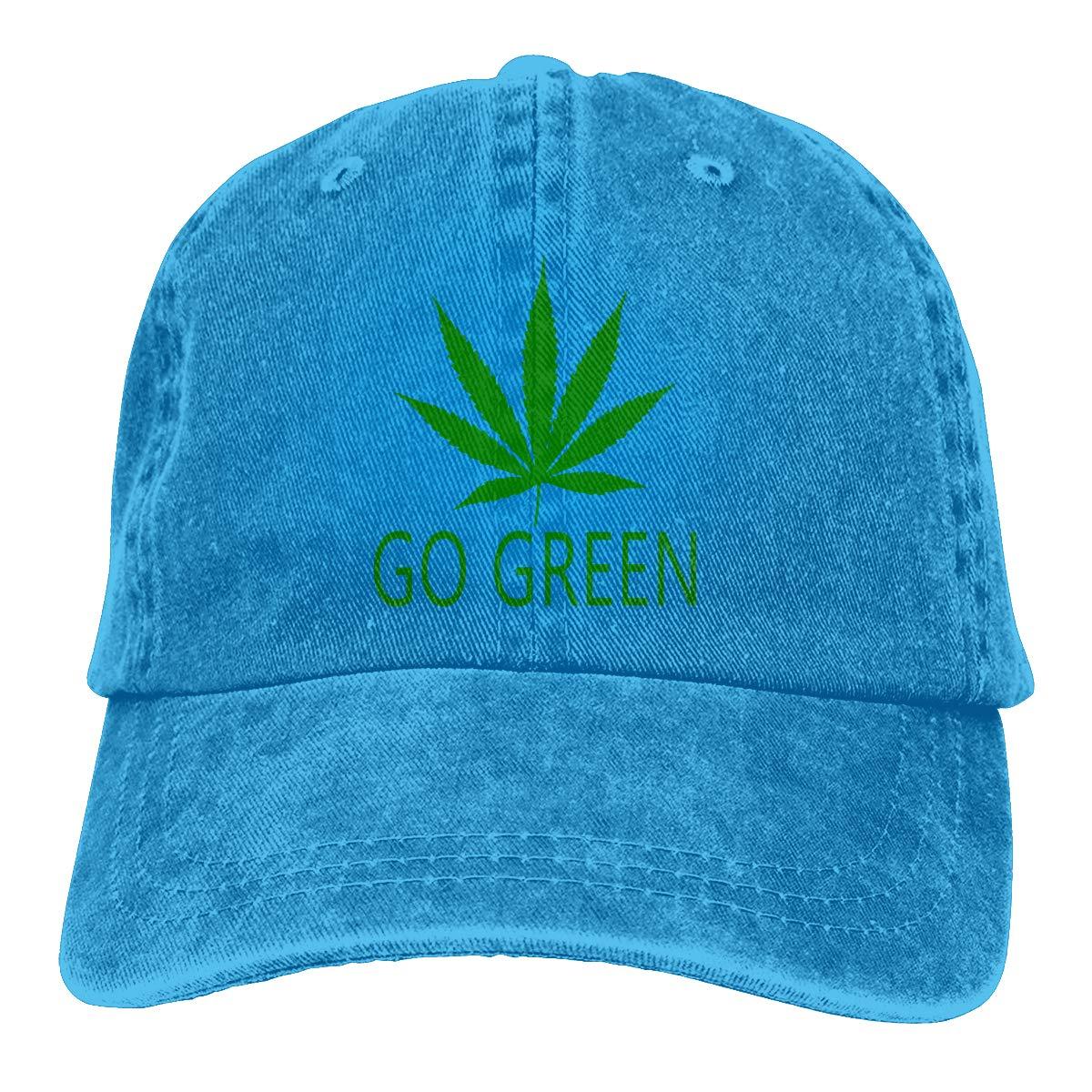 Go Green Weed Pot Leaf Marijuana Cannabis Classic Vintage Jeans Baseball Cap Adjustable Dad Hat for Women and Men