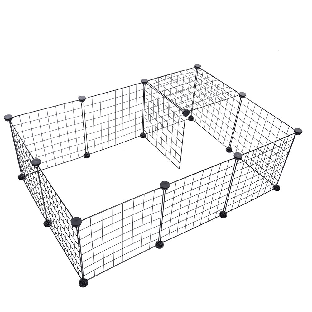 Yunt Pet Playpen Metal Dog Indoor Fence Yard Free Running Cage for Cats Small Dogs and Rabbits (12PCS)