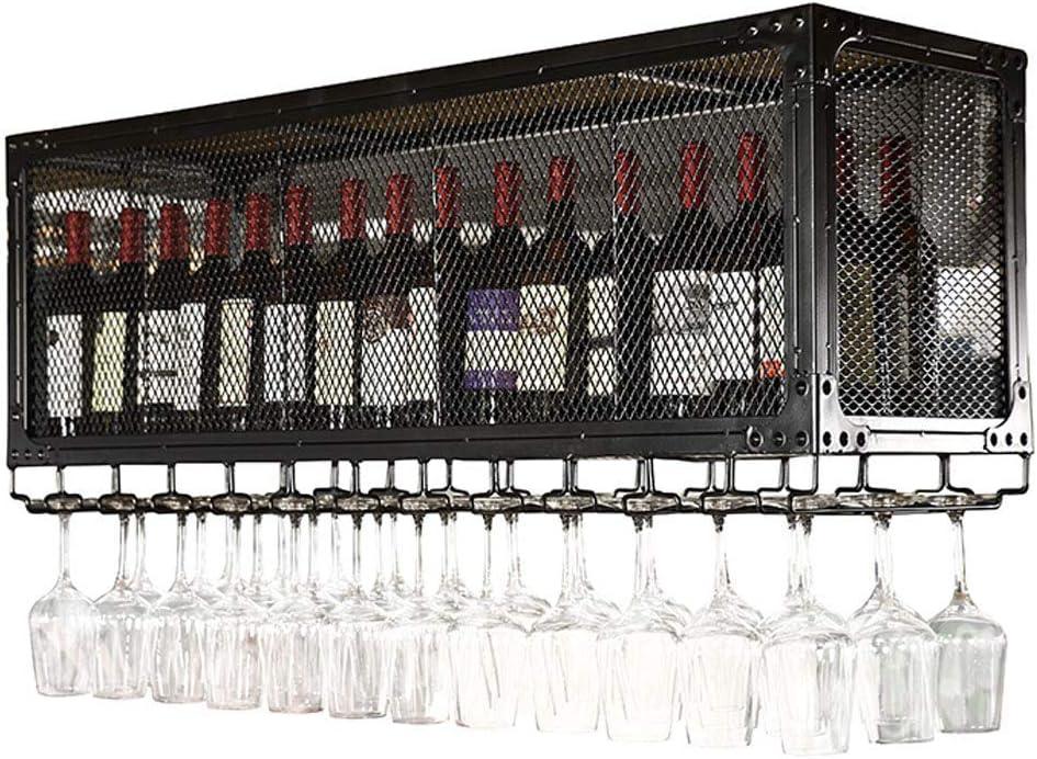 二重層の壁の棚の天井のワインボトルとグラスホルダー、金属鉄グリッド天井ラックストレージワインラック2層-大収納スペース