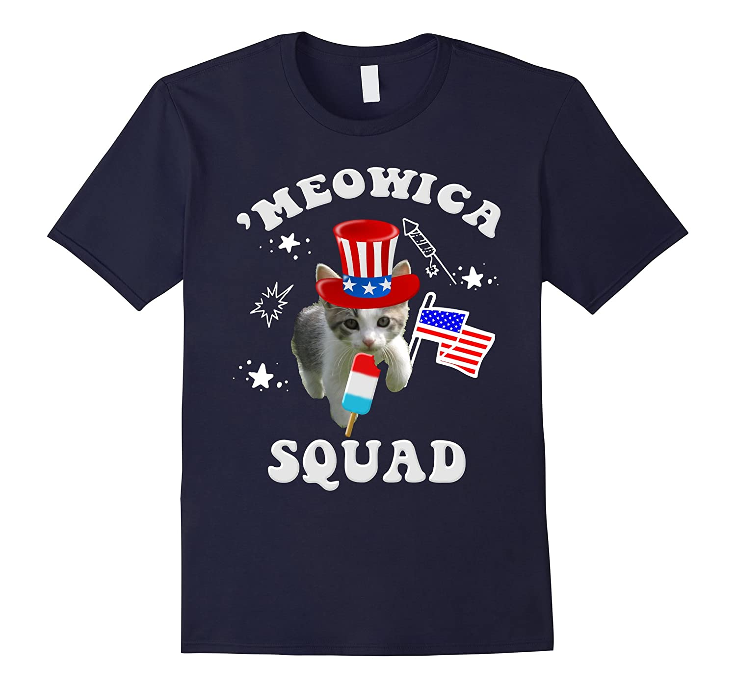 'Meowica Squad 4th Of July Cat Patriotic Funny Tee-TH