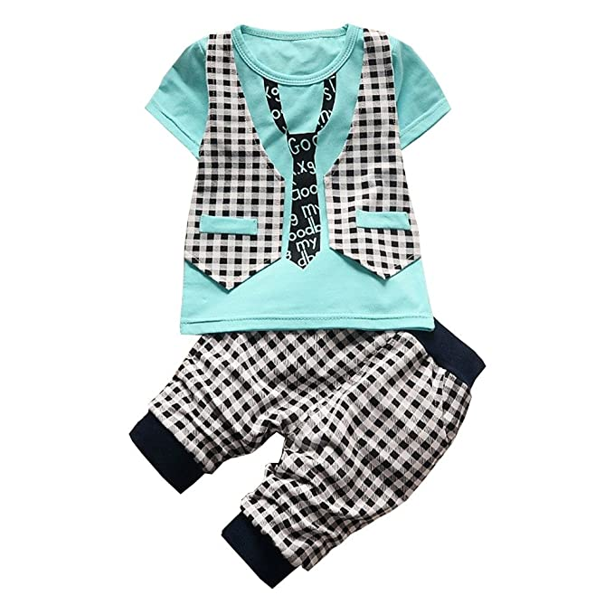 a6434c79338 BibiCola Baby Boy Clothes Newborn Toddler Boy Summer Clothing Set Gentleman  2pcs Lattice Clothes Sets Boys