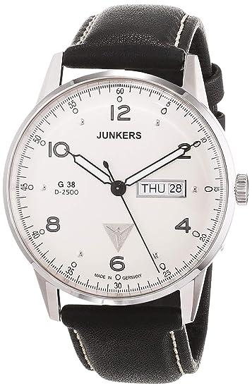 Junkers G 38 - Reloj de Cuarzo para Hombre, con Correa de Cuero, Color Negro: Amazon.es: Relojes
