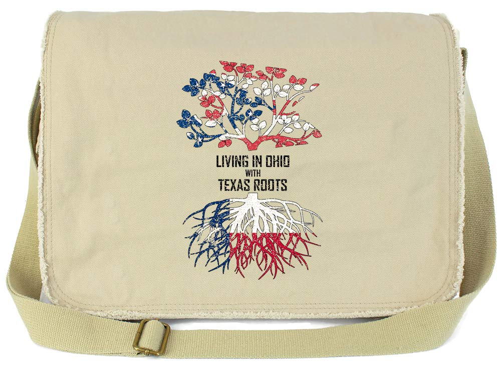Tenacitee Living In Ohio with Texas Roots Grey Brushed Canvas Messenger Bag