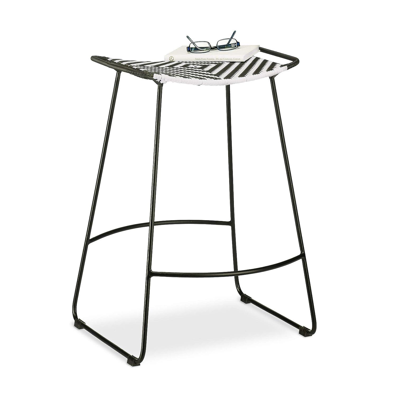 Sitzhocker HBT 66 x 46 x 30 cm karierter Gartenhocker Relaxdays Polyrattan Hocker schwarz-wei/ß