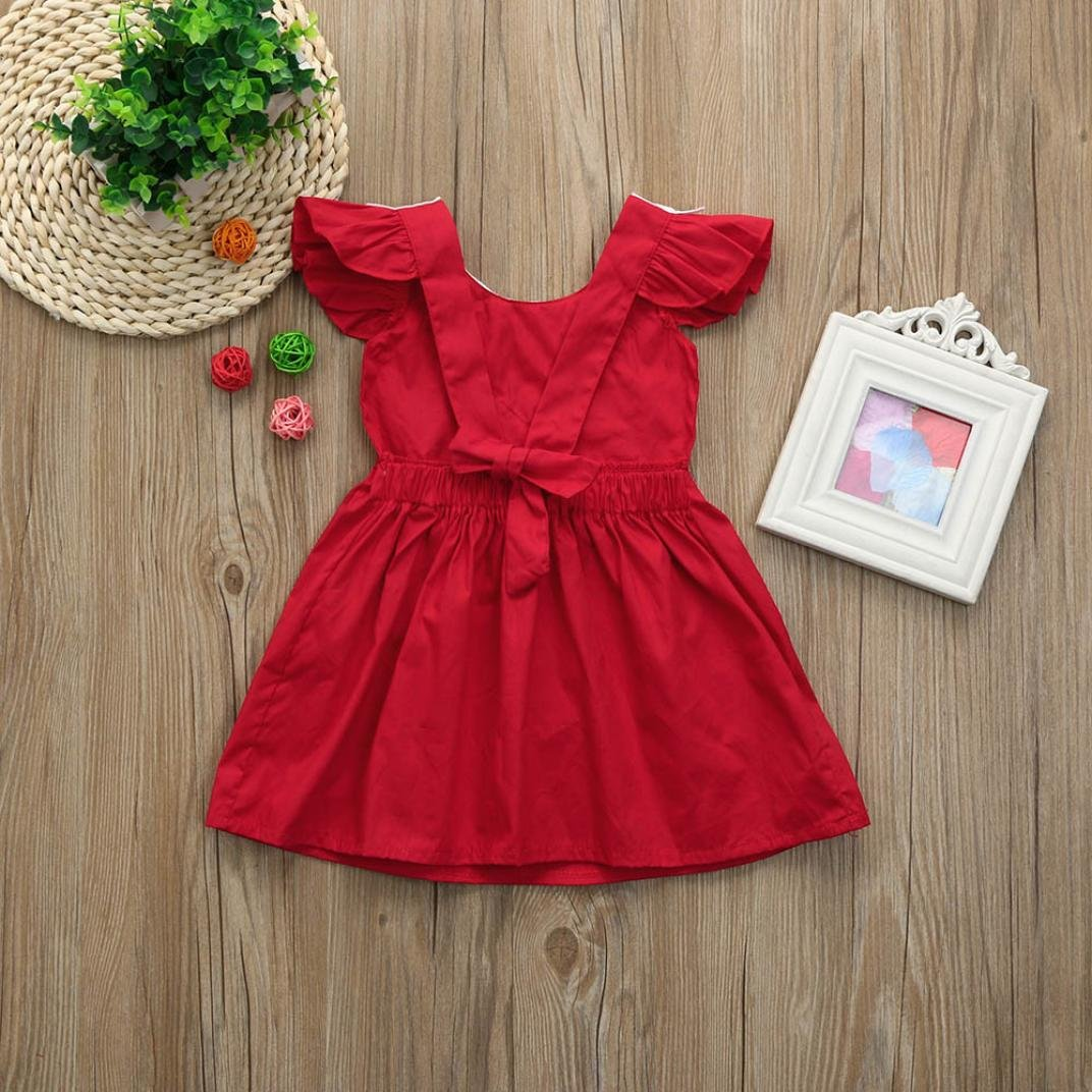 KONFA Toddler Baby Girls Lace Collar Ruffle Princess Dress,Suitable For 0-3 Years Old,Fashion Sleeveless Skirt Set