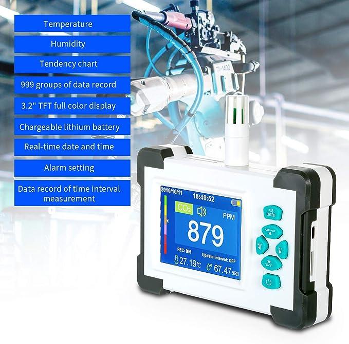Medidor de Co2 KKmoon Detector de di/óxido de carbono CO2 Contenido de concentraci/ón de gas TFT Analizador de calidad del aire con pantalla de temperatura y humedad Rango de medici/ón de 400-5000PPM