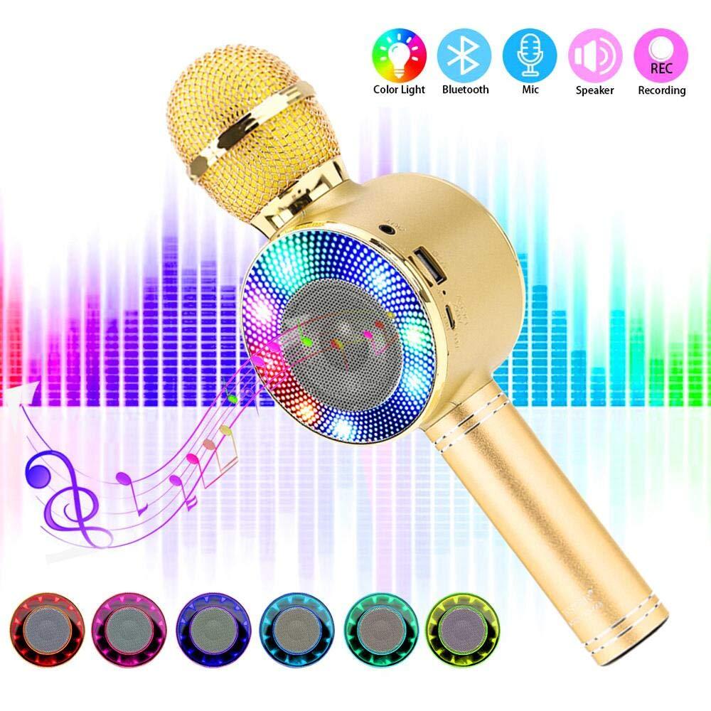 SaponinTree Micrófono Karaoke Bluetooth, 4 en1 Microfono Inalámbrico Karaoke Portátil con Luces LED 7 Colores para Niños Canta Partido Musica ...
