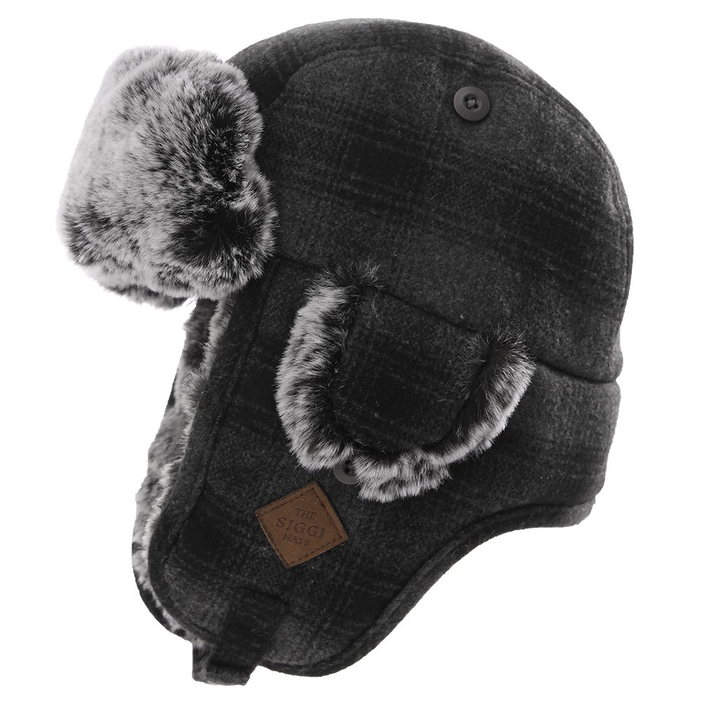 Mens Womens Plaid Faux Fur Hunting Bomber Trapper Flaps Winter Cap Ushanka Russian Hat Gray