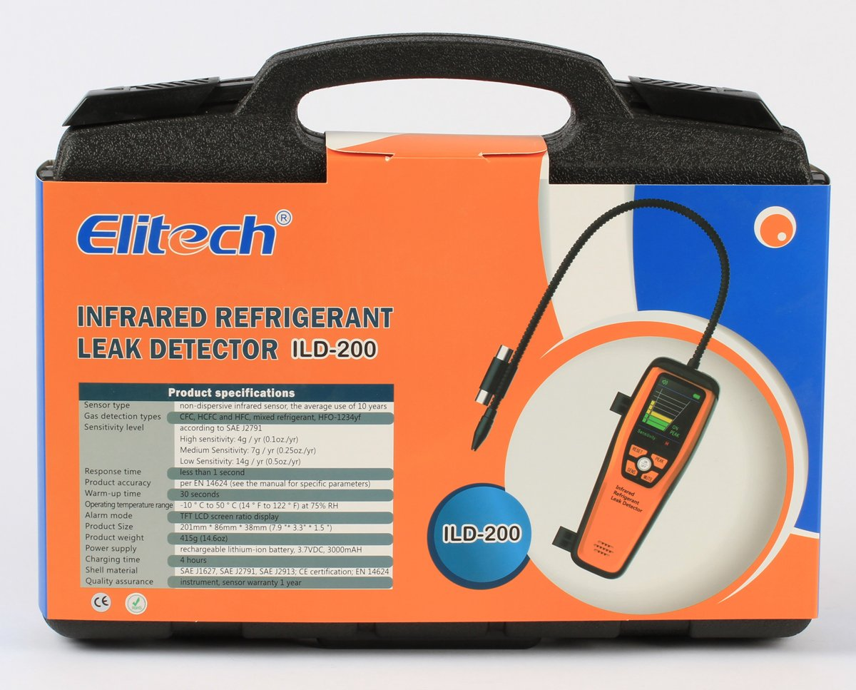 Elitech ILD-200 Advanced Refrigerant Infrared Leak Detector Tester with Flexible Probe High Sensitivity without Adapter