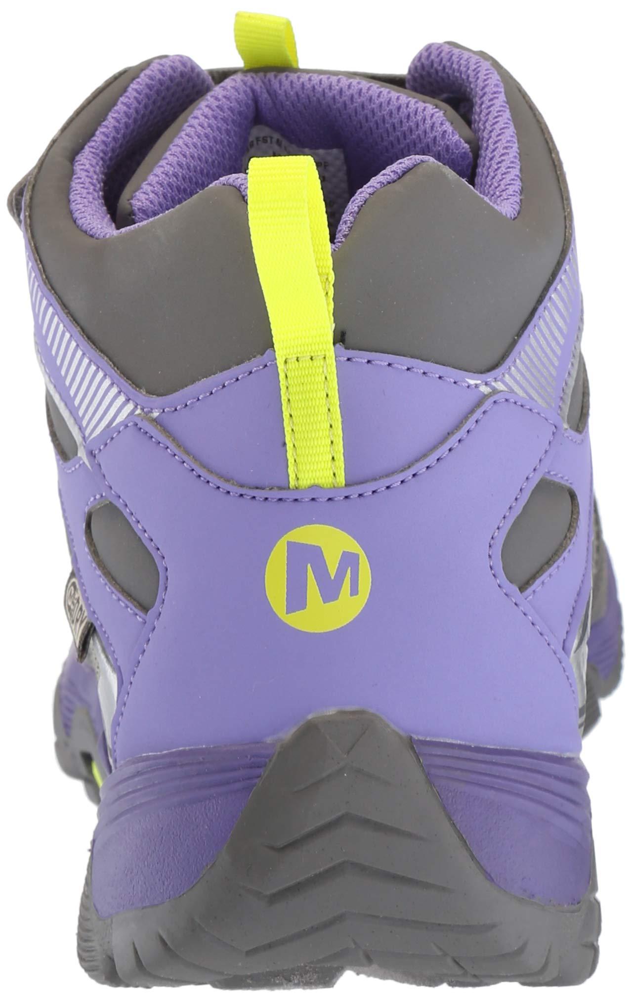 Merrell Girls' Moab FST Mid A/C WTRPF Hiking Shoe, Grey/Purple, 3.5 Medium US Big Kid by Merrell (Image #2)
