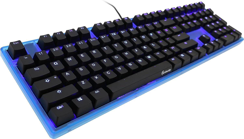Ducky Channel Un Teclado Reino Unido Disposición mecánica con Interruptor Azul Cereza MX, LED Azul y Caja Azul