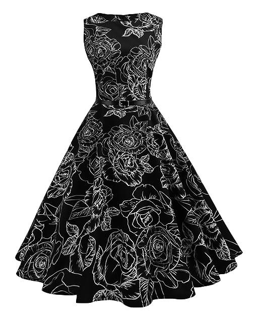 Vestido Mujer Vestidos De Fiesta Cortos Modernas Casual Estampado Floral Sin Mangas Hepburn Style Vestidos Años 50 A-Lìnea Vestidos Verano Medium Largos: ...
