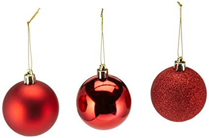 ki store 24 pcs shatterproof christmas balls tree ornaments 236 inches red