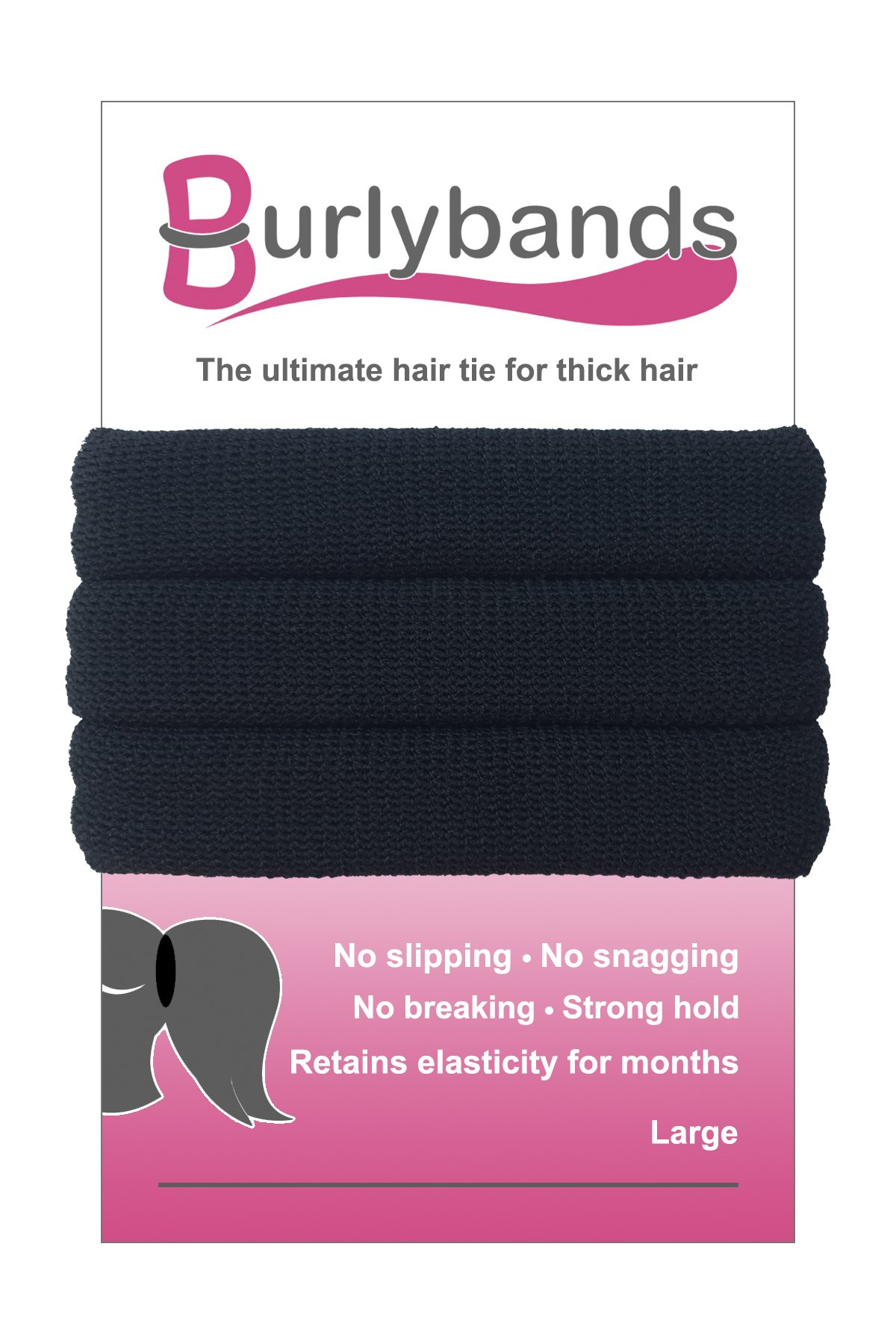 Burlybands - The Ultimate Hair Ties for Thick Heavy or Curly Hair. No Slipping Damage Breaking or Stretching Out. Seamless Ponytail Holders Scrunchies Sports Hair Ties for Thick Hair (Black) by Burlybands