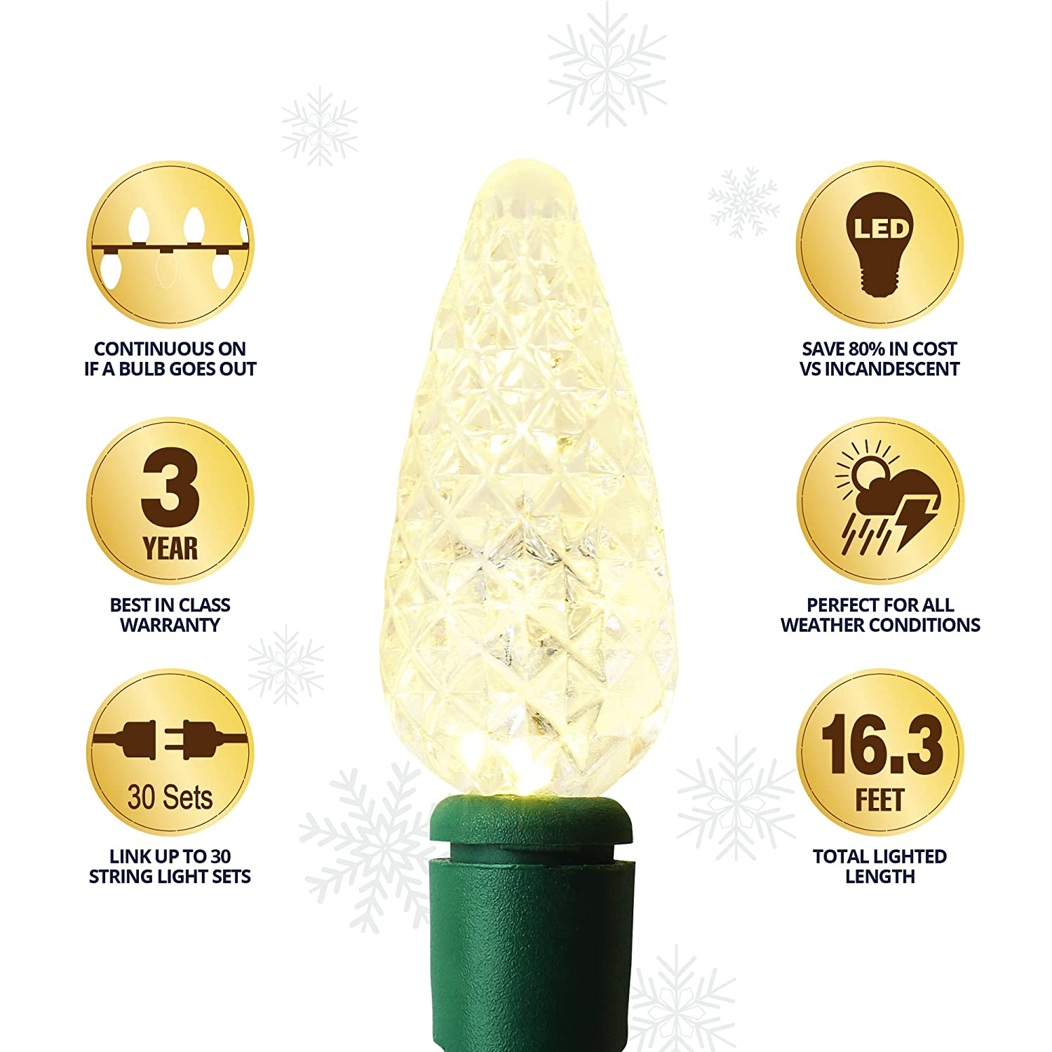 Warm White AU-CL50C3-WW-6P 97.8ft Aurio Outdoor//Indoor Christmas Lights 300-Count Total C3 LED Bulbs 300