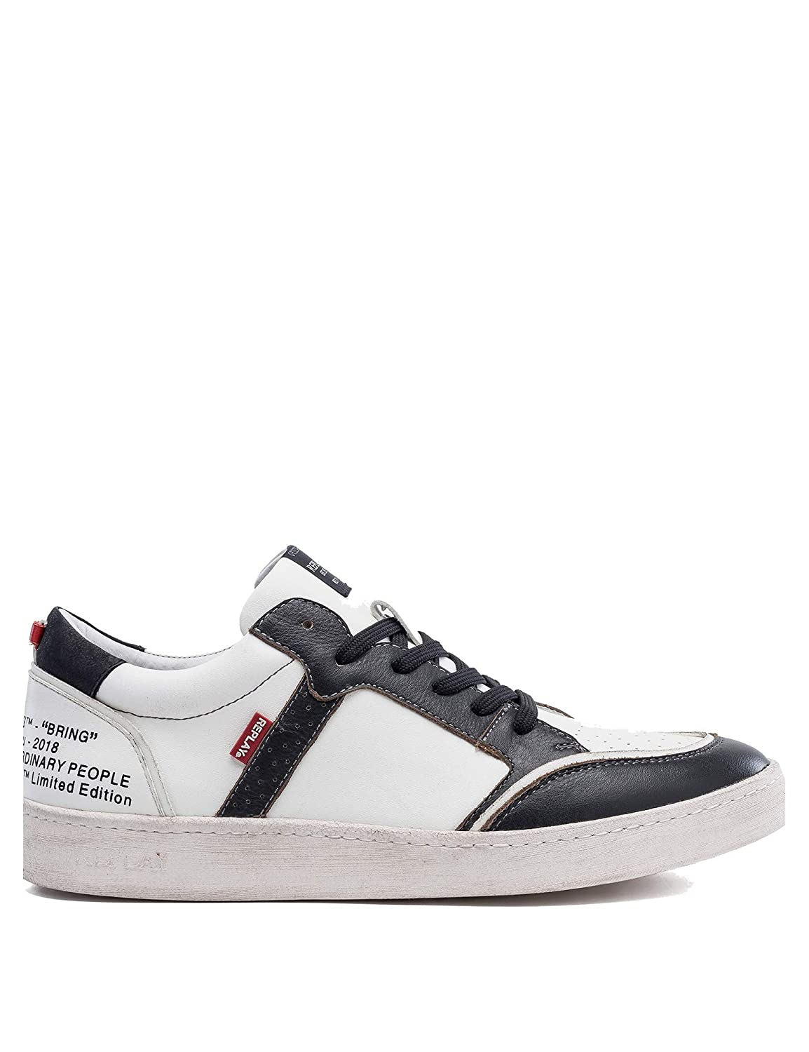 Replay Men's EverGrün Lace Up Leather Ανδρικα Λευκα Turnschuhe
