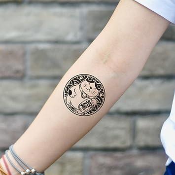 Tatuaje Temporal de Gato de la fortuna (2 Piezas) - www.ohmytat ...