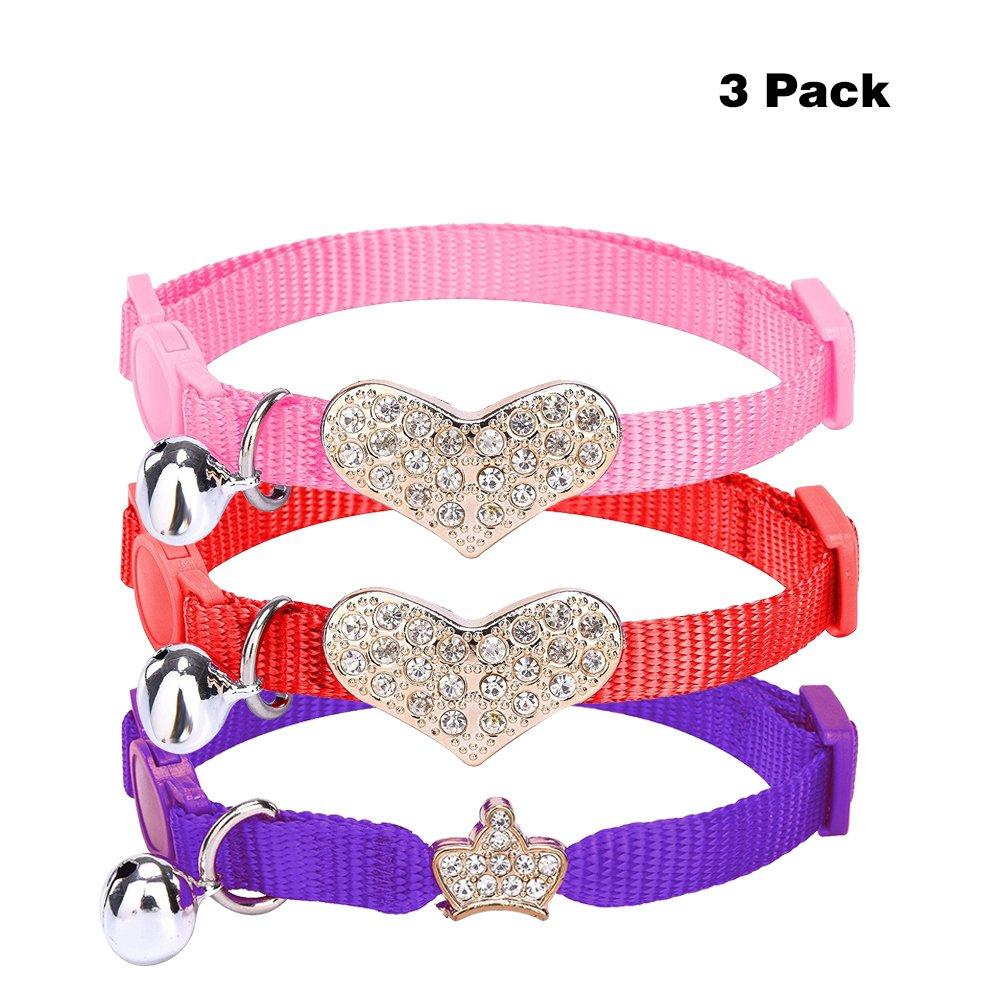 3 pcs/set Breakaway Cat Collar Adjustable Nylon Safe Rhinestone Bowtie Kitten Collars with Bell