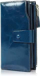 Demon&Hunter Monedero Piel Mujer RFID Bloqueo Gran Capacidad Cera Cuero Cartera Monedero Azul Zafiro DZA2083U