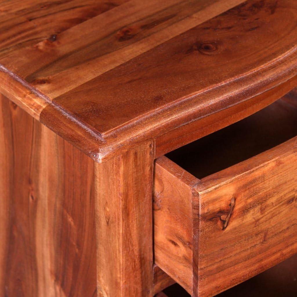 Festnight Table de Chevet Table de Nuit en Bois dacacia Massif avec Tiroirs 40 x 30 x 50 cm