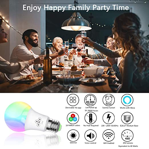 Rasse Smart LED Light Bulb, WiFi Light Bulbs 40W Equivalent, Dimmable RGB Multicolor LED Smart Light Bulb, Wake-up Lights Smart Led Light Bulbs Works with ...