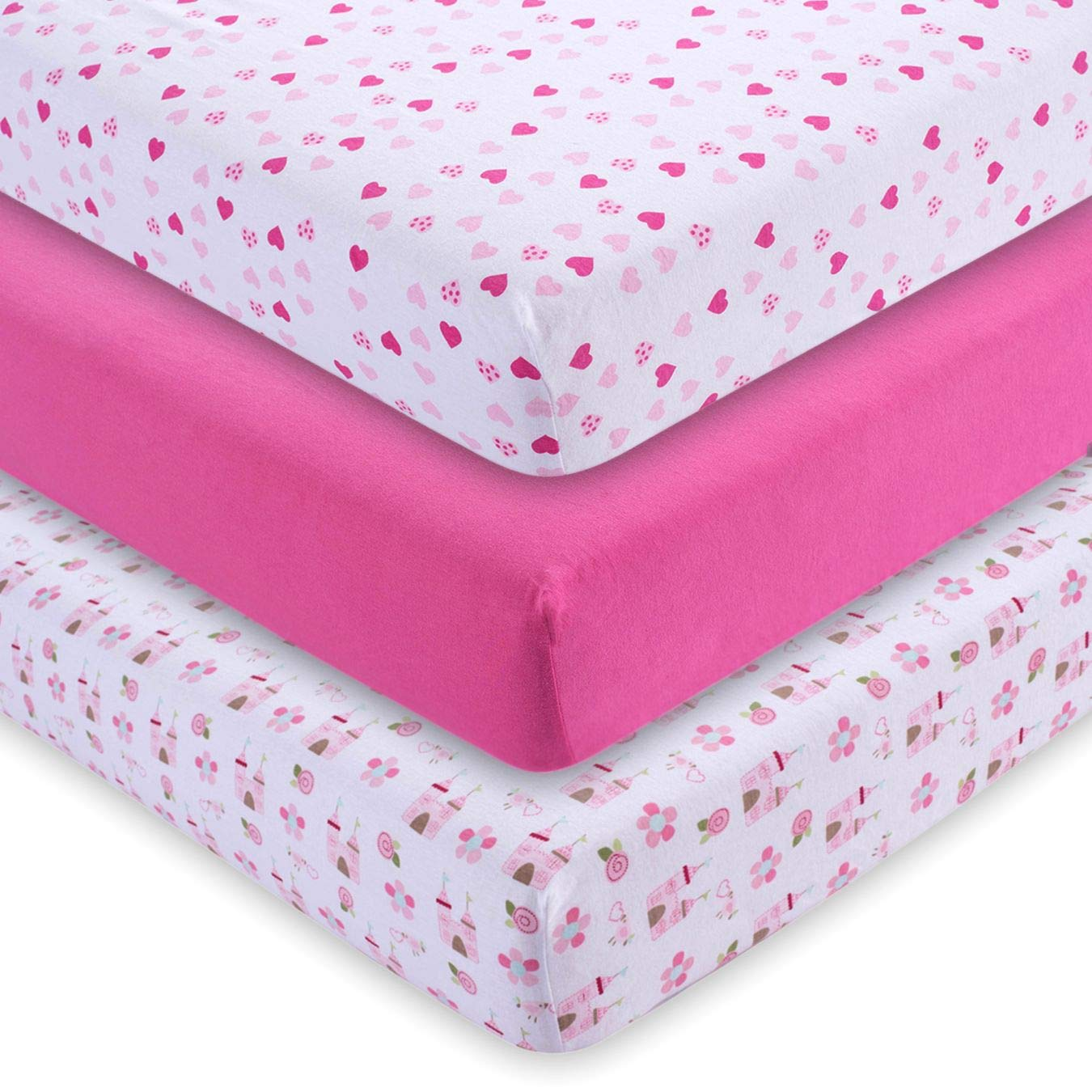 M&Y Fitted Crib Sheets (3-Pack), Girls, 52x28x9 in by M&Y