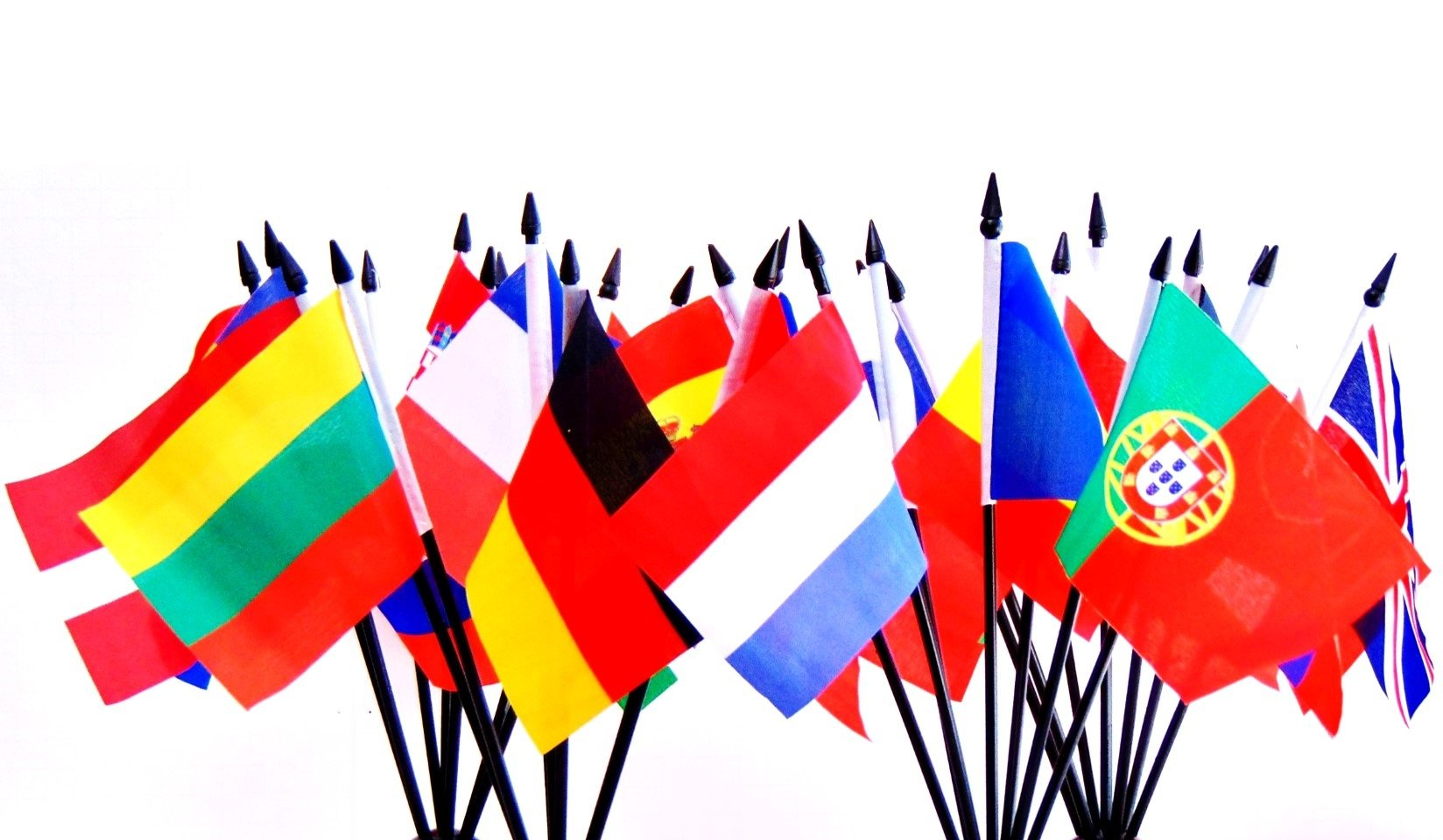 European Union (EU) World Flag SET-28 Polyester 4''x6'' Flags, One Flag for Each Country in The European Union 4x6 Miniature Desk & Table Flags, Small Mini Stick Flags