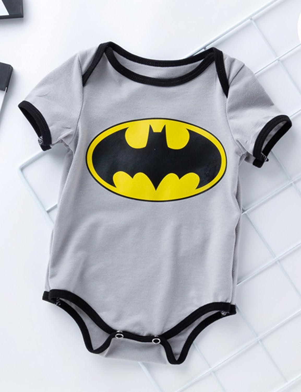 fedd6544c D.B.PRINCE Newborn Baby Boys Girls Superman Short Sleeve Bodysuit Romper  Outfits (0-3 Months, Batman)