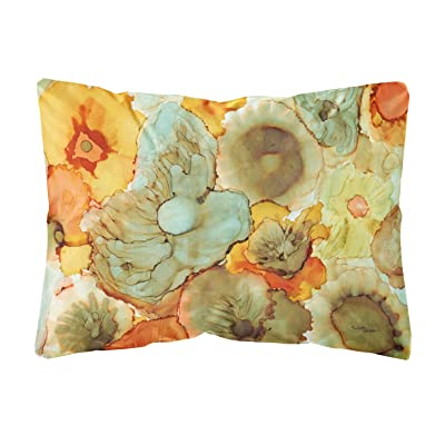 Caroline's Treasures 8959PW1216 Abstract Flowers Teal and Orange Fabric Decorative Pillow, 12H x16W, Multicolor : Garden & Outdoor