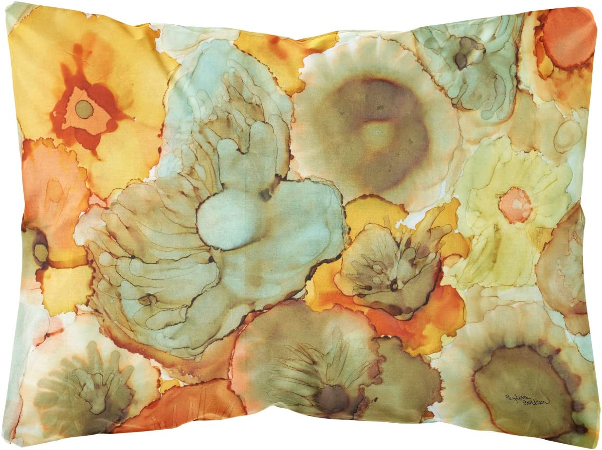 Caroline S Treasures 8959pw1216 Abstract Flowers Teal And Orange Fabric Decorative Pillow 12h X16w Multicolor Garden Outdoor