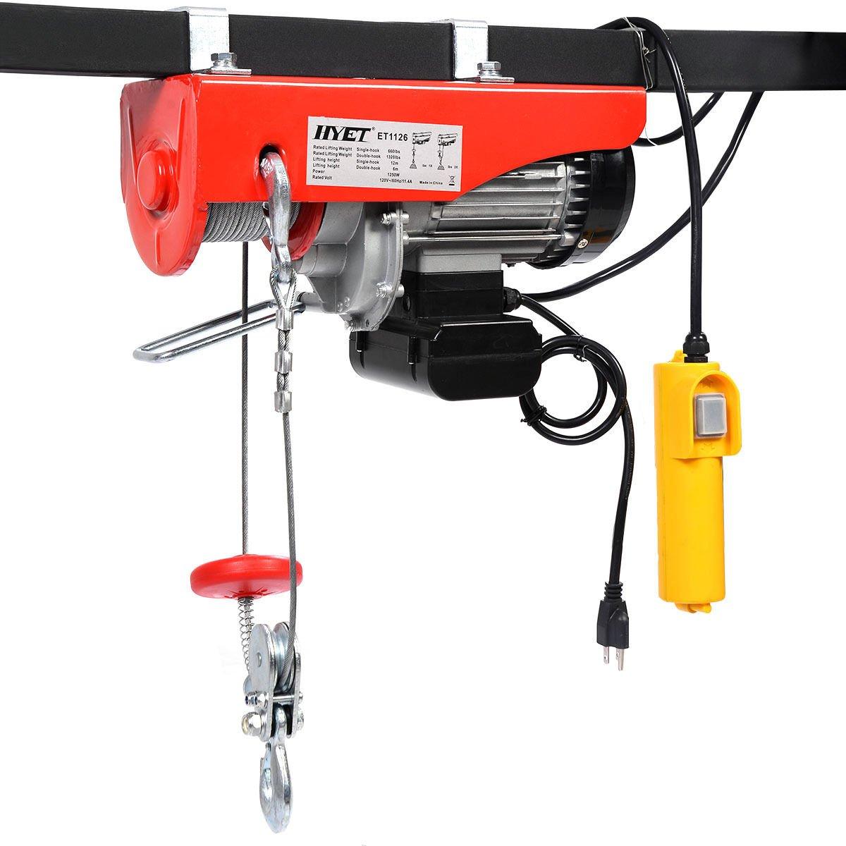 Goplus Lift Electric Hoist Garage Auto Shop Electric Wire Hoist Overhead Lift w/ Remote Control (1320LBS)