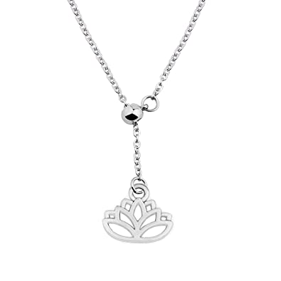 Wusuaned New Beginnings Lotus Flower Pendant Y Necklace Spiritual
