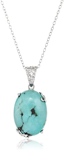 Amazon sterling silver genuine turquoise pendant necklace jewelry aloadofball Choice Image