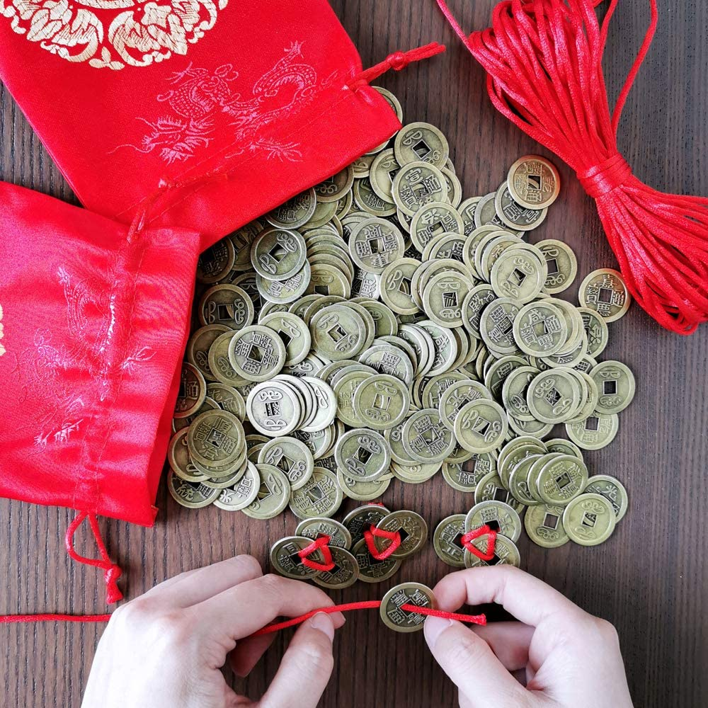 Supla 260 Pcs Chinese Coins Feng Shui Coins Good Fortune Coins Good Luck Coins and Lucky Bag for Chinese New Year Health Wealth Bracelet Charms 2020 Year of The Rat Decorations