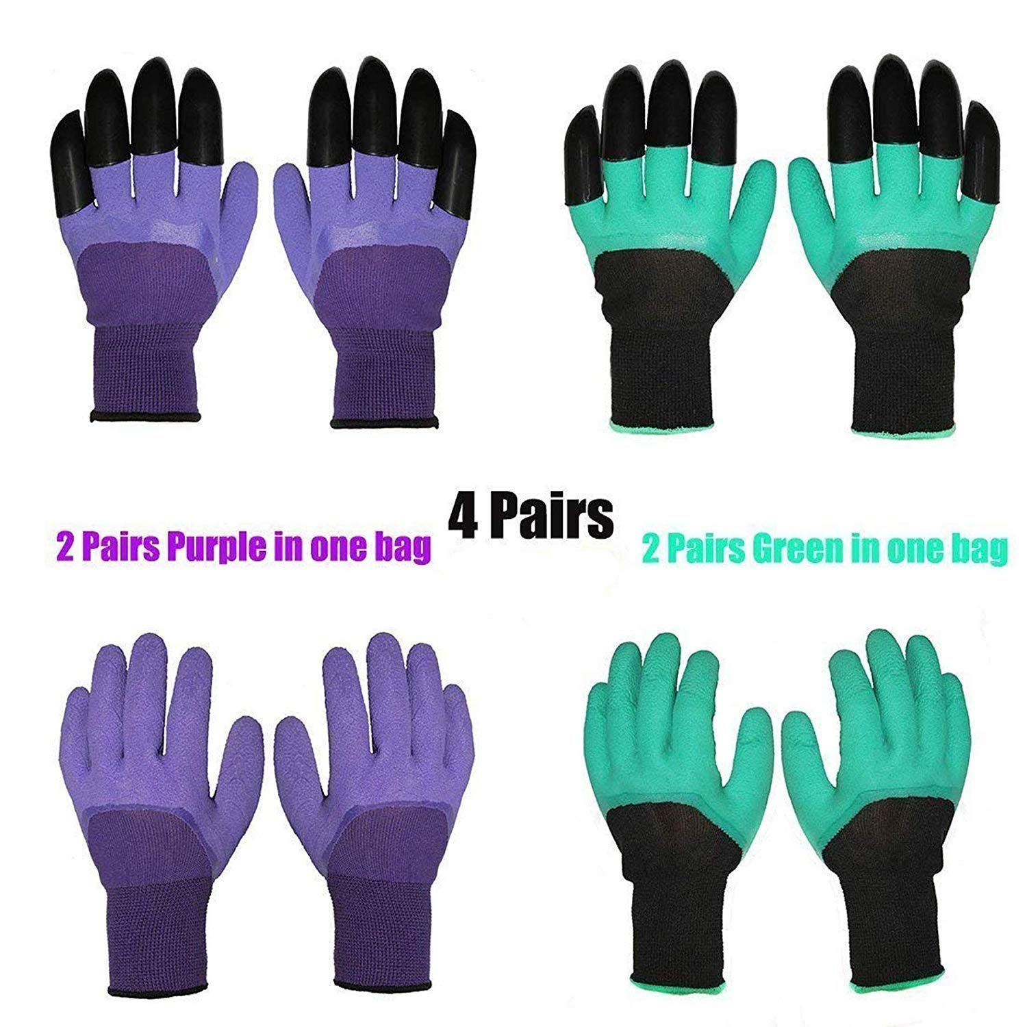 4 PAIRS BROWN AND GREEN 4 Pairs Garden Gloves With Fingertips Claws,Best Gift For Gardener,2 Pairs Working Genie Gloves With Double Claws,2 Pairs without Claws,For Digging and Planting,Breathable.
