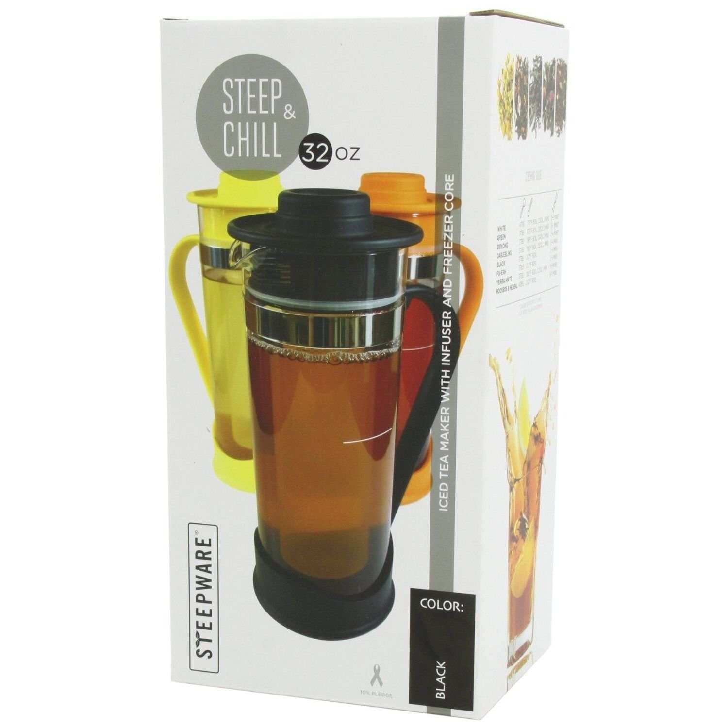 The Tea Spot Steep & Chill Gourmet Iced Tea Maker w/ Tea Infuser - Black