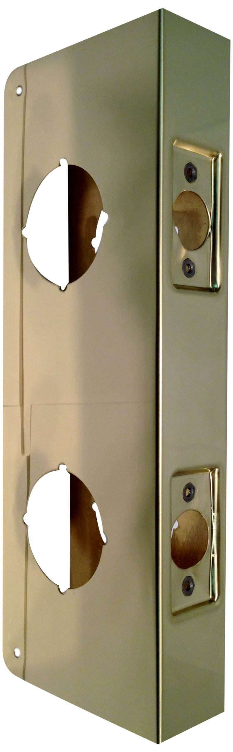 Don-Jo 481-PB-CW 22 Gauge Polished Brass Classic Wrap-Around Plate, Polished Brass Finish, 4-1/4'' Width x 9'' Height, 2-3/4'' Backset, 1-3/4'' Door Size, For Double Lock Combination Locksets (Pack of 10)