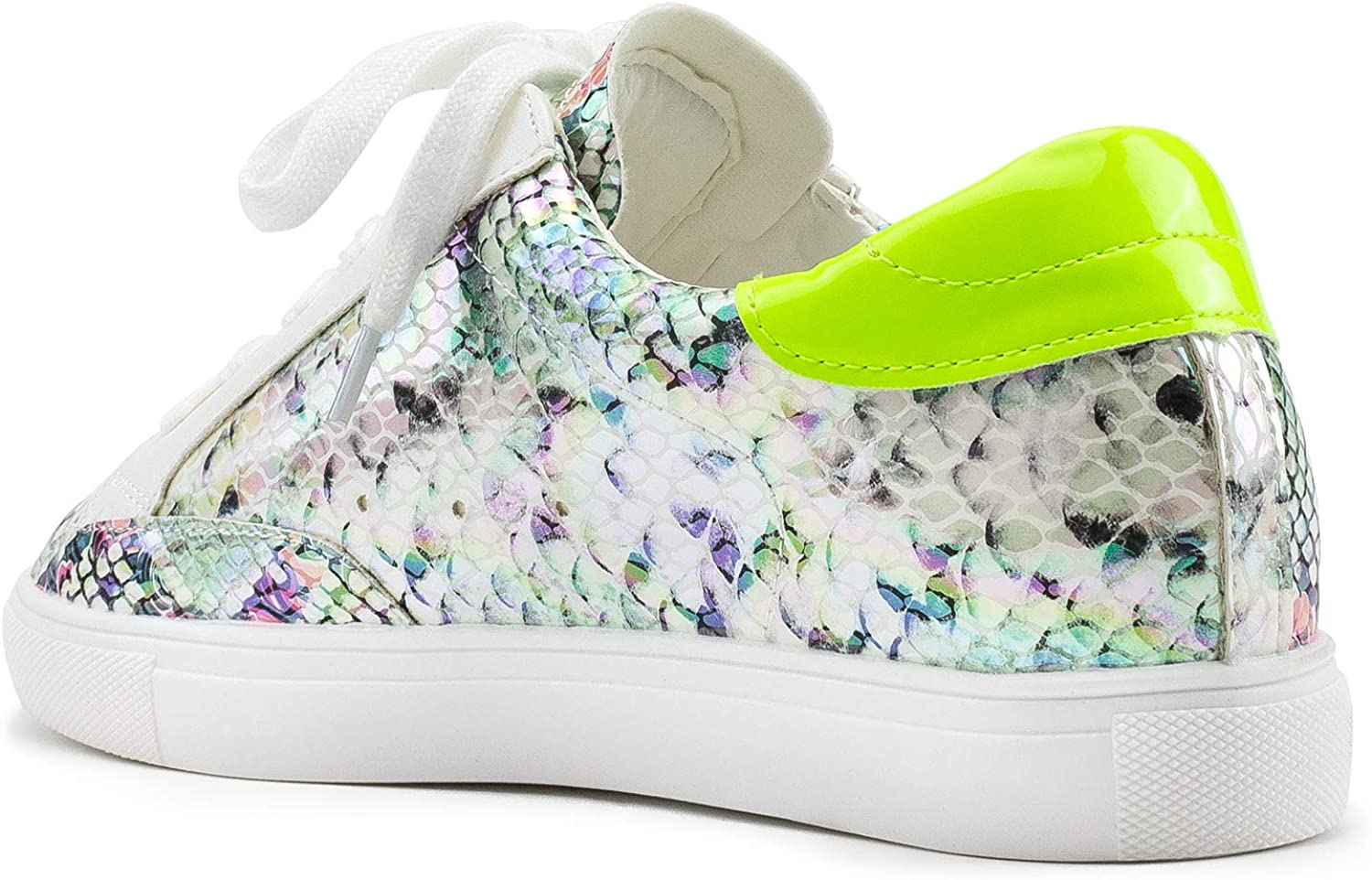 RF ROOM OF FASHION Women's Casual Low Top Trendy Cushioned Fashion Star Sneakers Neon Green Pat (Run Small. Order Half Size Up)