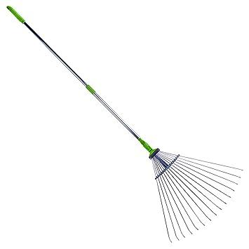 Sharpex Adjustable Garden Leaf Rake (7 inch - 37 inch, Green)