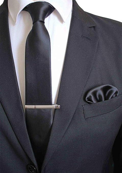 Gentle Conjunto de Corbata de Corbata Lisa de Seda Lisa con Clip ...