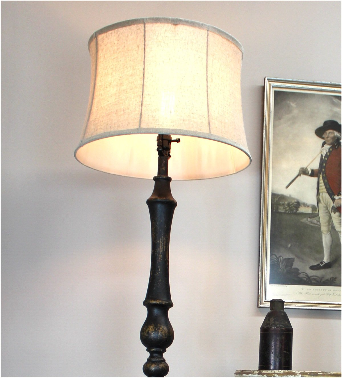 Black Floor Lamp with Aged Black Painted French Country Finish Soft Back Shade by The King's Bay (Image #2)