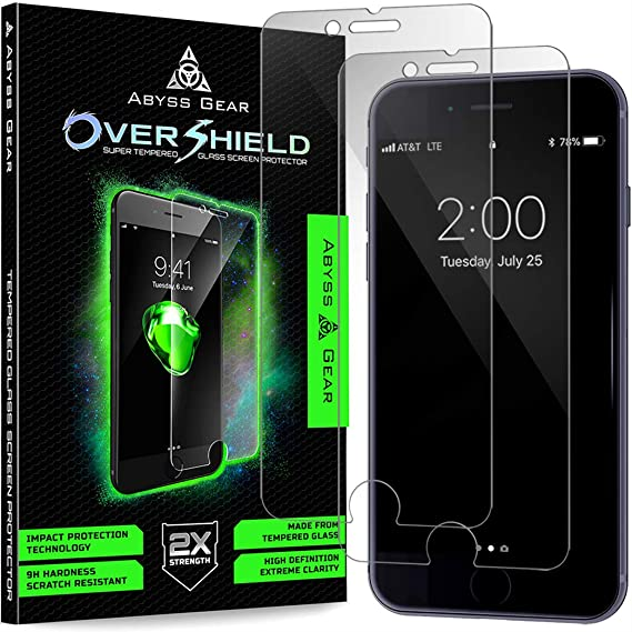 Abyss Gear I Phone 8 Plus 7 Plus Screen Protector, Double Strength Tempered Glass [2 Pack] Shatter Resistant Cover by Abyss Gear