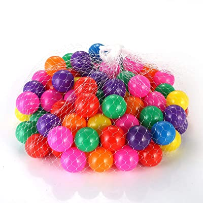 Yolispa Soft Plastic Mini Play Balls Colorful Funny Ocean Ball Set Crush Proof, No Sharp Edges, Non Toxic, Baby Kids Playing Tool with Mesh Bag for Indoor Outdoor Swimming Pool (100pcs/1.57in): Home & Kitchen