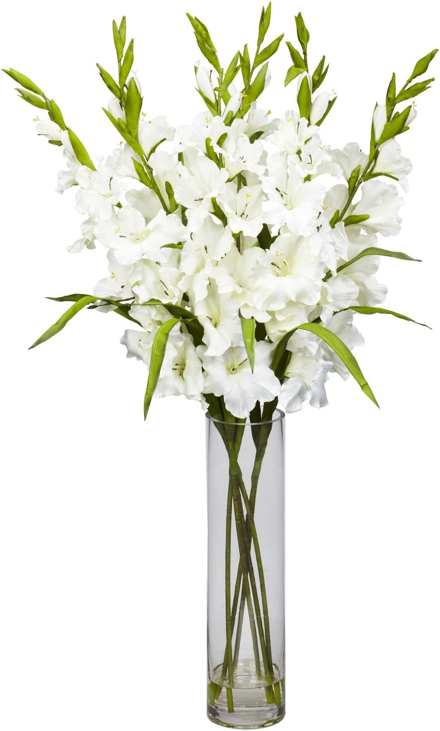 Amazon Com Nearly Natural 1240 Wh Large Gladiola With Cylinder Vase Silk Flower Arrangement White 42 X 11 X 11 Home Kitchen