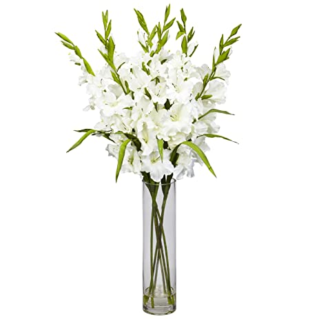 nearly natural 12401240wh large gladiola with cylinder vase silk flower arrangement white
