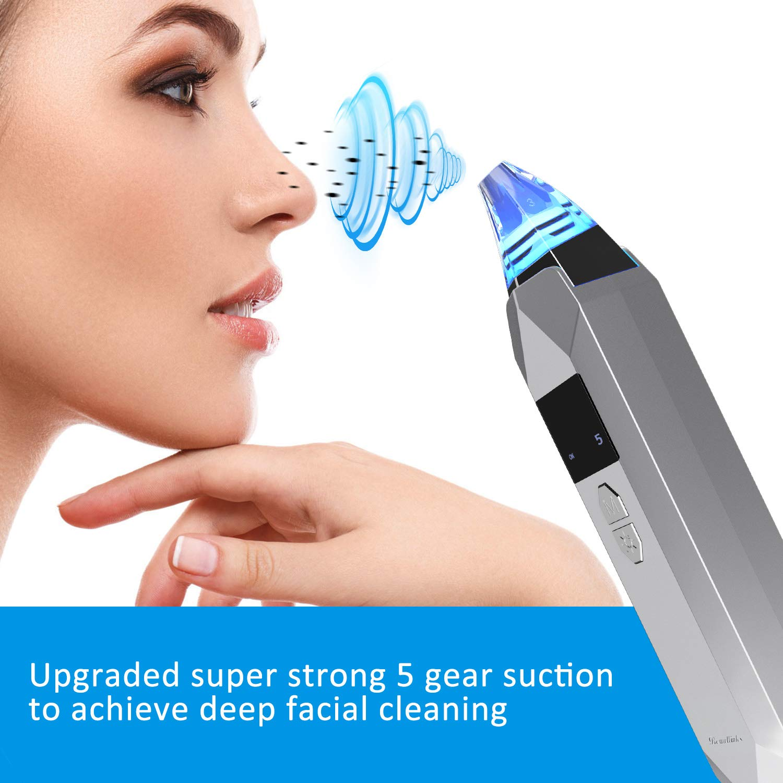Aspirateur Point Noirs Extracteur Rechargeable, Beautlinks Facial Pores Nettoyant Point Noir, Retirer les Blackhead Visage avec 3 LED Lumières de Beauté, 5 Niveaux et 5 Têtes d\'Aspiration