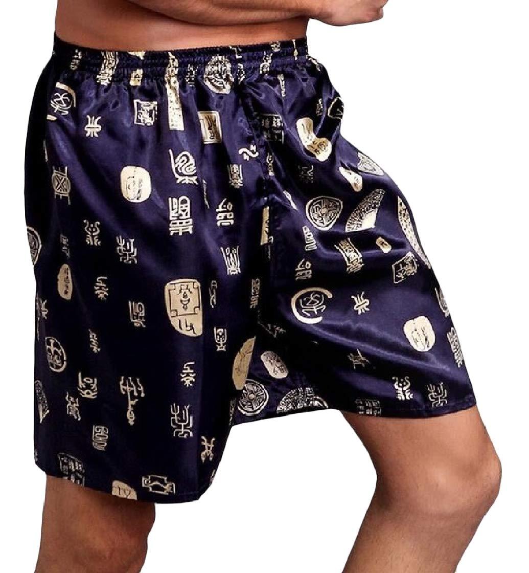 Macondoo Men Sleepwear Silk Summer Thin Shorts Loose Printed Pajama Pants Blue S